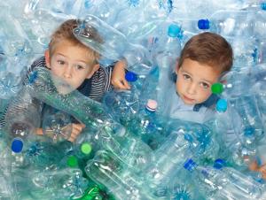Kids in discarded bottles