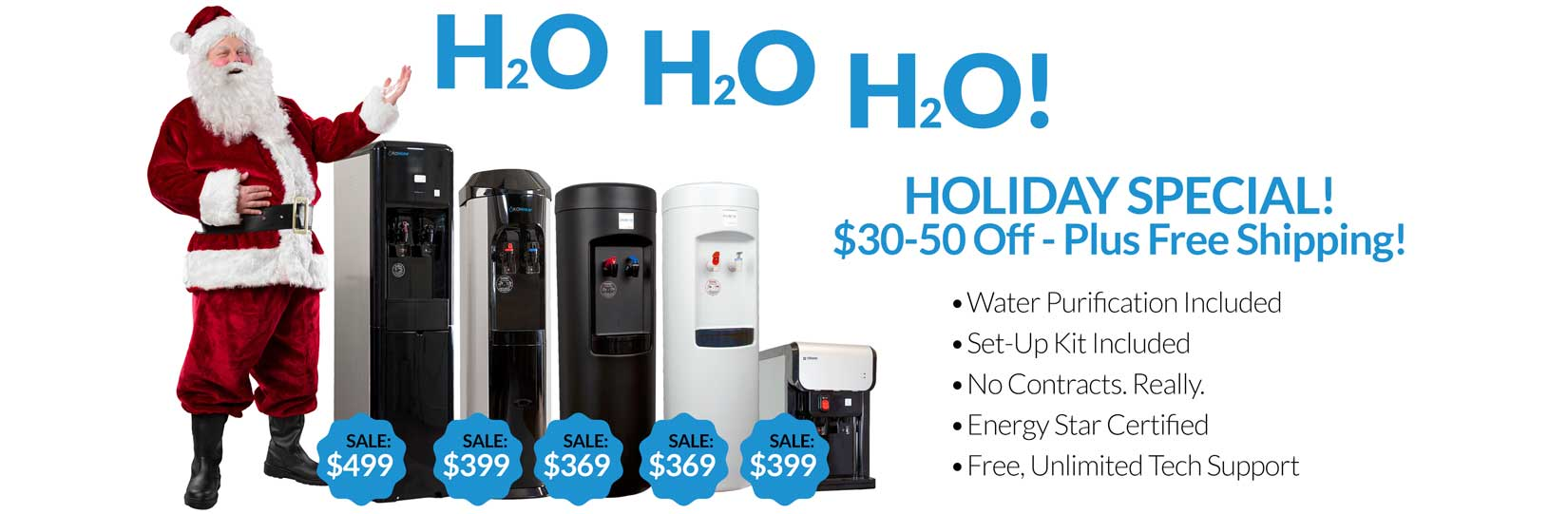 XO bottleless coolers with santa