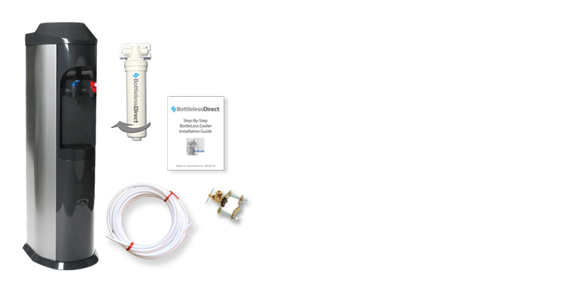Everything is included in your bottleless direct cooler - filtration, installation kit and instructions