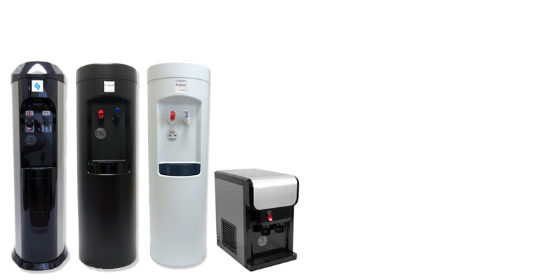 The BottleLess Direct Cooler lineup - stainless steel, black, white and stainless countertop